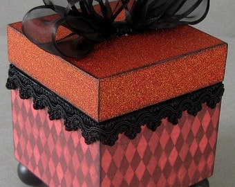 Red Harlequin Decorative Keepsake Trinket Box