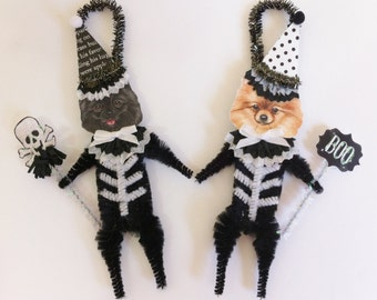 Pomeranian SKELETON Halloween vintage style CHENILLE ORNAMENTS set of 2