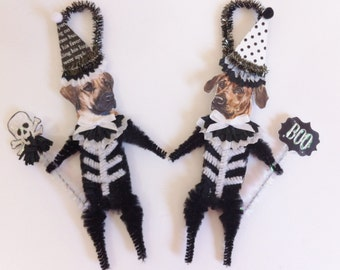 Rhodesian Ridgeback SKELETON Halloween vintage style CHENILLE ORNAMENTS set of 2