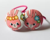 Kawaii Pink Bunnies PONYTAIL HOLDERS
