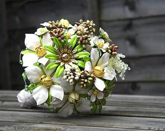 The Rite of Spring II -   Vintage designer Brooch  Bouquet in Green and White