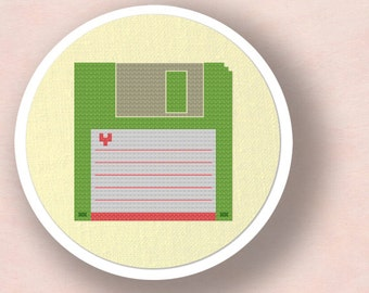 Floppy Disk. Modern Simple Cute Counted Cross Stitch PDF Pattern Instant Download