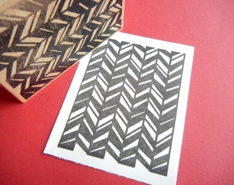 Modern Chevron Herringbone  Background Rubber Stamp  - Handmade by BlossomStamps
