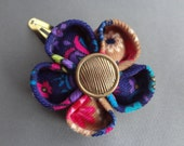 Hand Folded Kanzashi Flower Hair Clip with Blue, Pink and Brown Corduroy Fabric and Vintage Metal Button Center