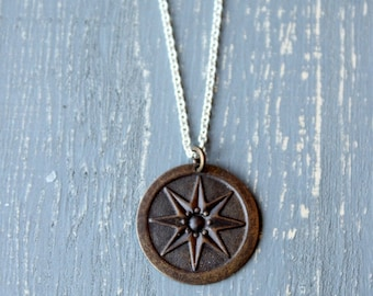 Compass Star Necklace, Brass Compass Pendant Mixed Metal Jewelry Sterling Silver Necklace Amazonite Stone Nautical Star