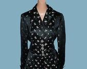 Vintage 60s Black Silk Satin Tailored Jacket S