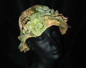 Vintage 60s Straw and Flowers Cloche Hat