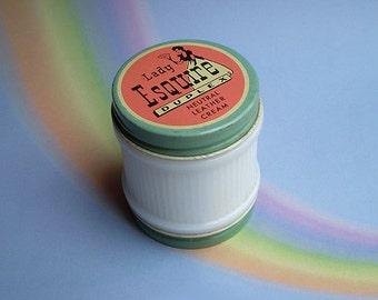 Vintage 40s Lady Esquire Leather Cream Duplex Jar