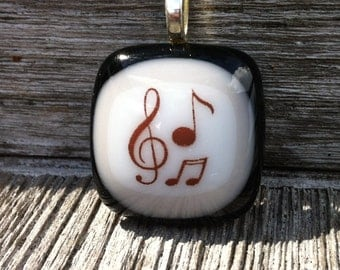 Treble Clef and Music Notes Fused Glass Pendant - Music Lover or Teacher