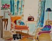 Paris Apartment, French Interior, Print of My Painting, VINTAGE PARIS, French Decor, Furniture, Interiors Paintings, Bergere Chair