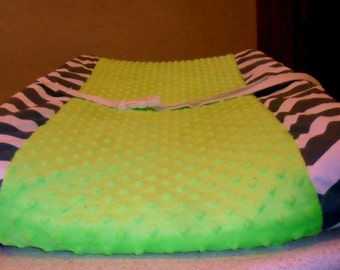 Gray Chevron and Lime Green Minky Dot Changing Pad Cover CHOICE OF MINKY