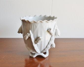 Vintage handmade white porcelain vase
