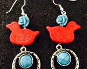 Gemstone Bird with Tourquoise Flower Charm Earrings Bright and Happy Earrings