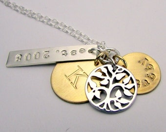 Mixed Metal Family Necklace, Personalized Family Tree Sterling Silver, Gold Filled 14K GF Necklace LIZZY by E. Ria Designs Jewelry