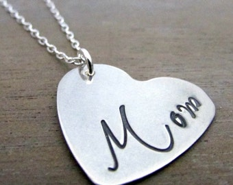 Mother's Day Heart Charm Necklace, MOM, Hand Stamped Sterling Silver Heart Necklace by E. Ria Designs