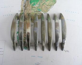 SALE! 8 vintage slim curved distressed silvery brass metal handles