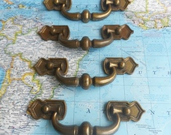 SALE! 4 wide curved brass metal pull handles
