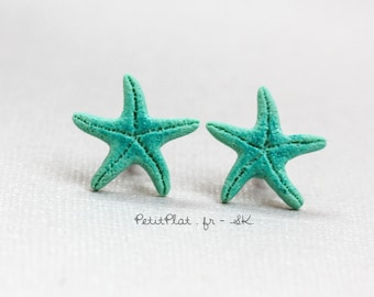 Miniature Starfish Post Earrings / Studs - Mint, Turquoise, Teal