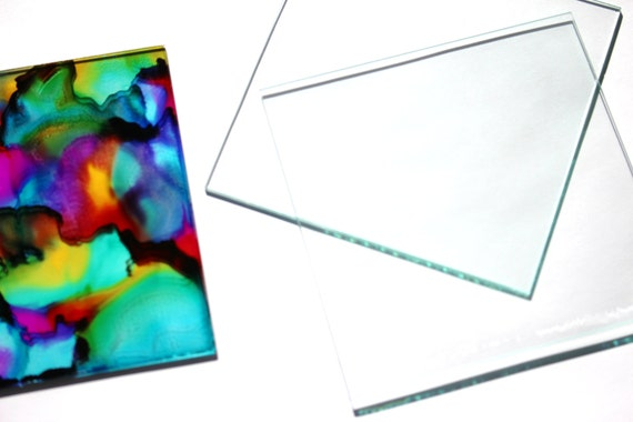 4 x 4 inch  Glass Tiles 20 Squares Large DIY Blank for Coasters Memory  Clear  10.2 cm Sheet Thin Transparent