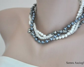 Bridal Pearl Necklace, Multi strand Pearl Jewelry, Braided Necklace, Rhinestone and Pewter Pearl Necklace , Brides, Bridesmaids gifts