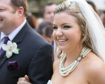 Wedding Necklace, Pearl Rhinestone Wedding Necklace, Layered Ivory Pearl Necklace, bride multi strand pearl necklace,handmade pearl necklace