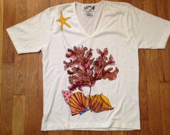 Vintage 80s seaweed starfish ocean v neck tShirt