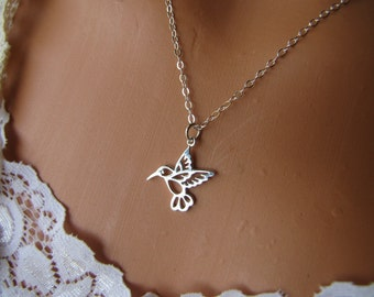 Hummingbird Necklace Sterling Silver Charm