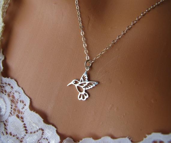 Hummingbird Necklace-Bird Necklace- Filigree Hummingbird Necklace-Sterling Silver Charm