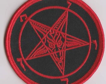 Baphomet Sigil Red Embroidered Sew on Patch. Baphomet. Occult. Witchcraft. Witch. Satanic Goat.