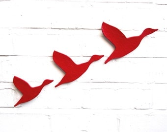 Ceramic wall art Three flying ducks set bright scarlet red Modern wall sculpture artwork Bathrooms kitchens living room Size C, E, F
