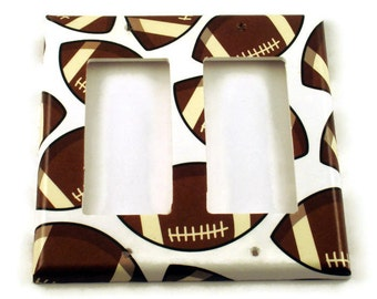 Double Rocker Football Light Switch Cover  Wall Plates Switch Plate  in Touch Down  (159DR)