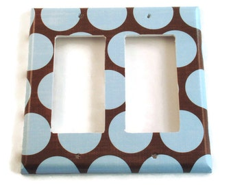 Double Rocker Switchplate  Light Switch Cover  Switch Plate in  Cocoa Blue   (172DR)