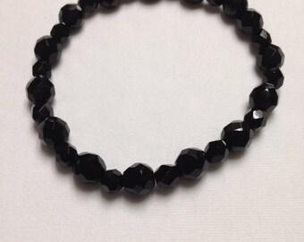 Faceted Onyx Beaded Bracelet
