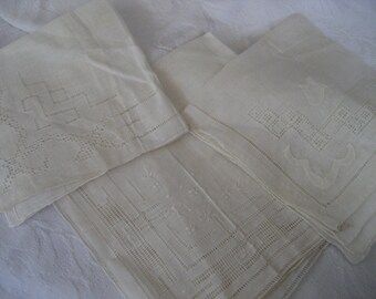 Lot of 3 VINTAGE White Cut Work Handkerchiefs   3c
