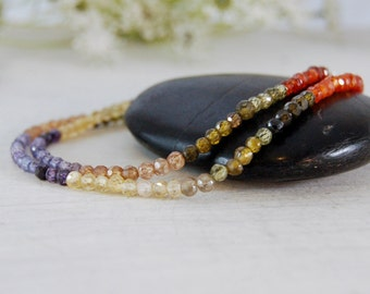 Colorful Zircon Necklace Orange Yellow Purple Silver