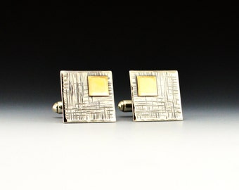 Sterling Silver and Gold Men's Cufflinks