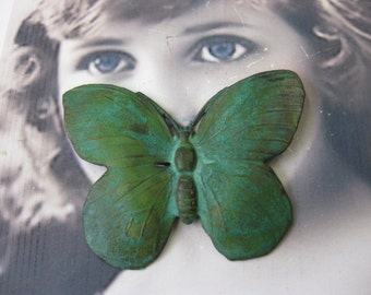 Large Verdigris Patina Butterfly Stamping with or without holes  329VER x1