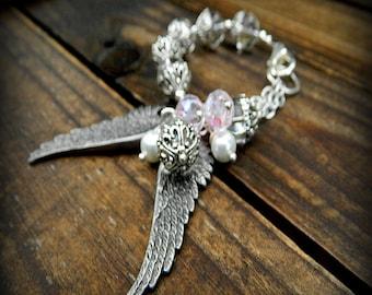 Angel Wings, Western Cowgirl Southwestern Boho Crystal & Pearl Wings Charm Bracelet