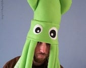 Large Plush Squid Hat - Lime Green
