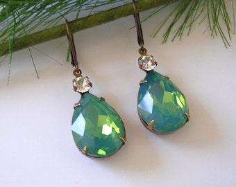 Vintage Green Opal Faceted Teardrop Clear Swarovski Crystal Antiqued Bronze Prong Setting Earrings.