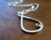 Champagne cubic zirconia, sterling silver teardrop pendant necklace, wedding jewelry, bridal jewelry, simple, modern, geometric shape