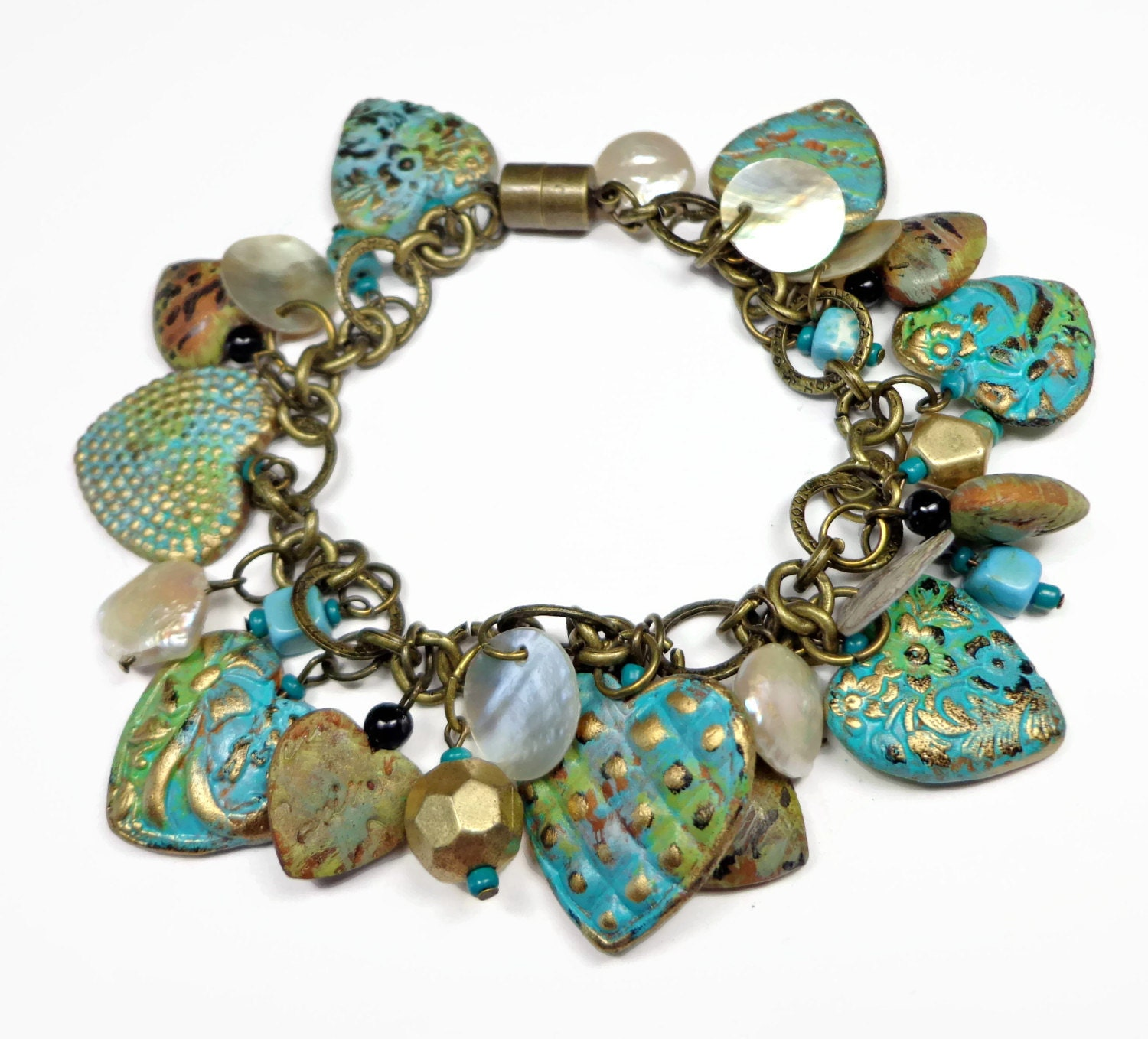 Polymer Clay Charm Bracelet: Vintage Turquiose Heart Bracelet Polymer Clay By BeadazzleMe