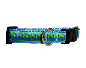 "Small ""The Blue Palm"" Couture Dog Collar"