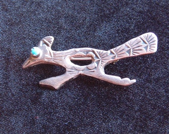 Brooch, Pin, Vintage Silver Road Runner Bird with Turquoise Eye Pin