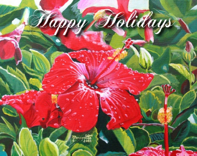 Hawaiian Red Hibiscus - Printable PDF Christmas Card - Happy Holidays DIY Greeting Cards -  Kauai Hawaii Mele Kalikimaka Christmas Cards