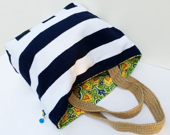 Nautical Striped Navy White Terrycloth Beach Tote Bag is perfect for the Beach and everyday use