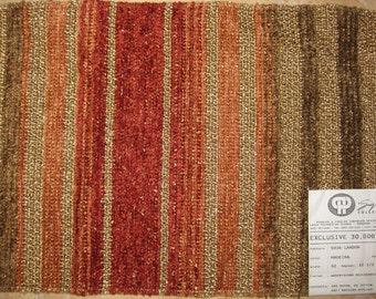 Textured Chenille Stripe Landon Pindler Designer Fabric Sample Carpet Brown Rust Red