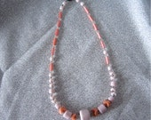 Vintage 1970's Necklace -  Glass Beads - Peachy Coral & Pin