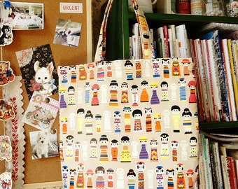 Japanese Kokeshi Doll ECO-Friendly Handmade Shopping Bag Women Tote