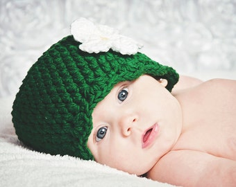 Baby Girl Hat 0 to 3 Month Emerald Green Baby Hat Emerald Baby Hat Baby Girl Clothes Baby Girl Beanie Crochet Flower Hat Flapper Beanie